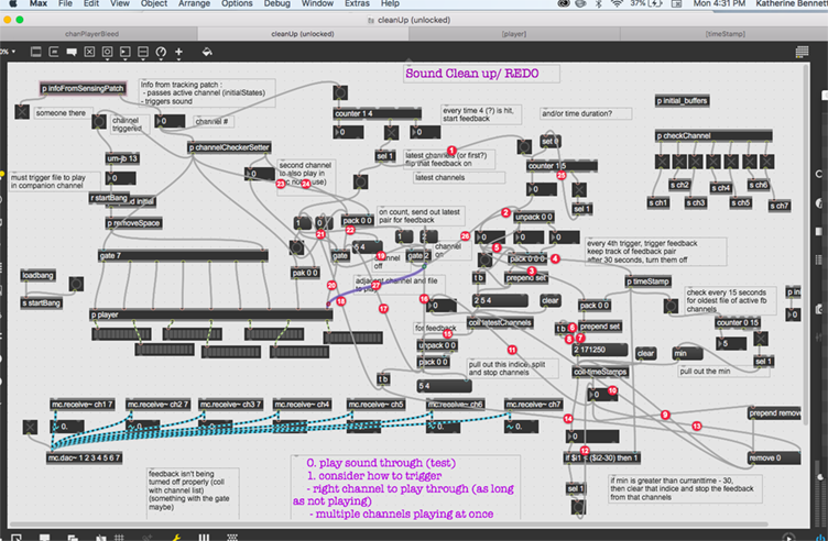 Max/MSP patch (which is a graphical programming language) with lots of red flags which help to trace bugs